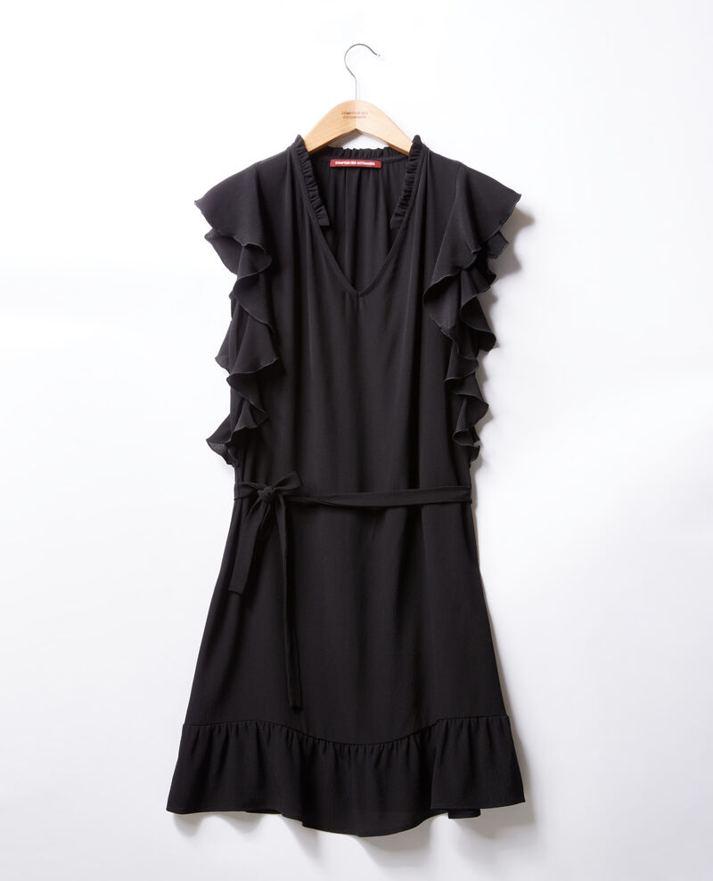 Vestido con volantes Negro Fretiller