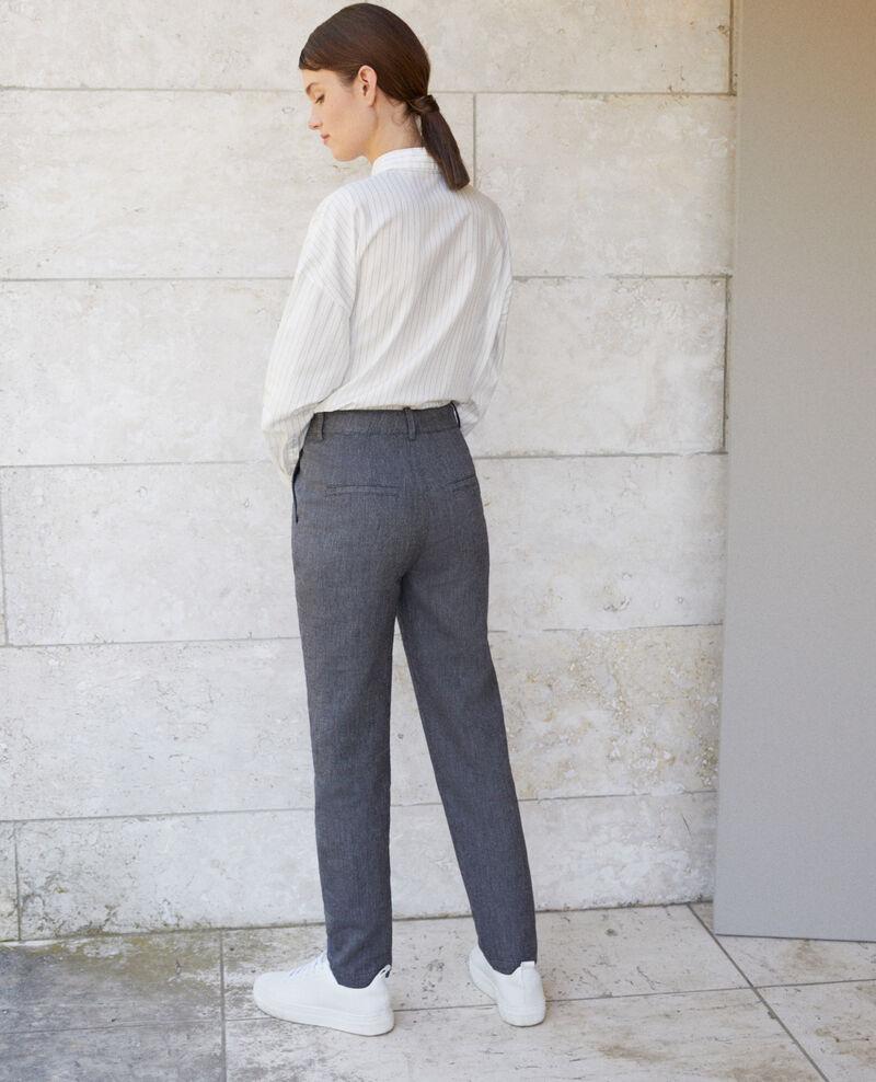 Pantalón de lino y lana Azul Gaulicien