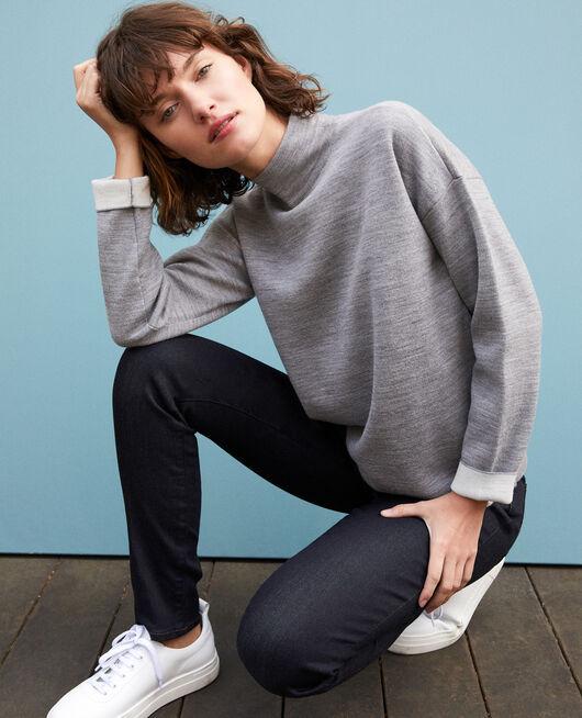 Jersey de doble cara de lana merino LIGHT HEATHER GREY/OFF WHITE