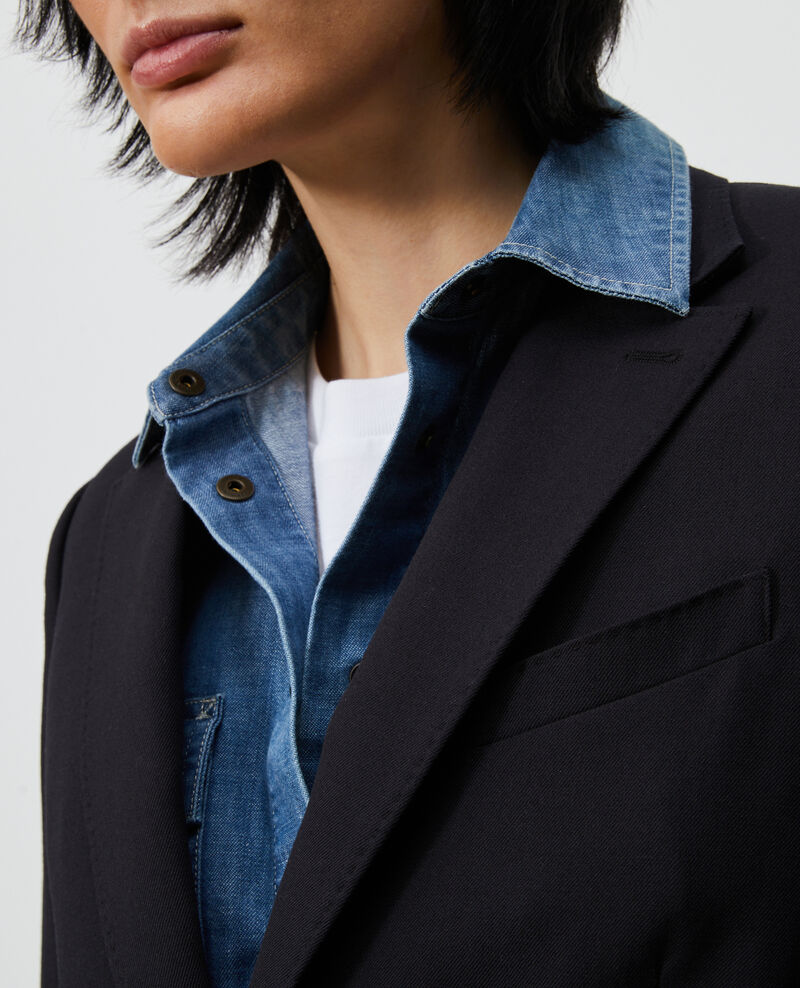 Blazer ligero de lana lisa Black beauty Luscade