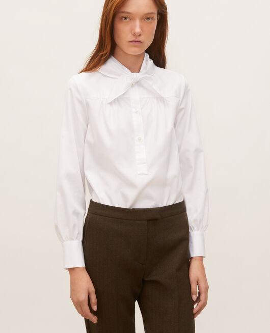 Blusa de algodón con cuello fular desmontable BRILLIANT WHITE