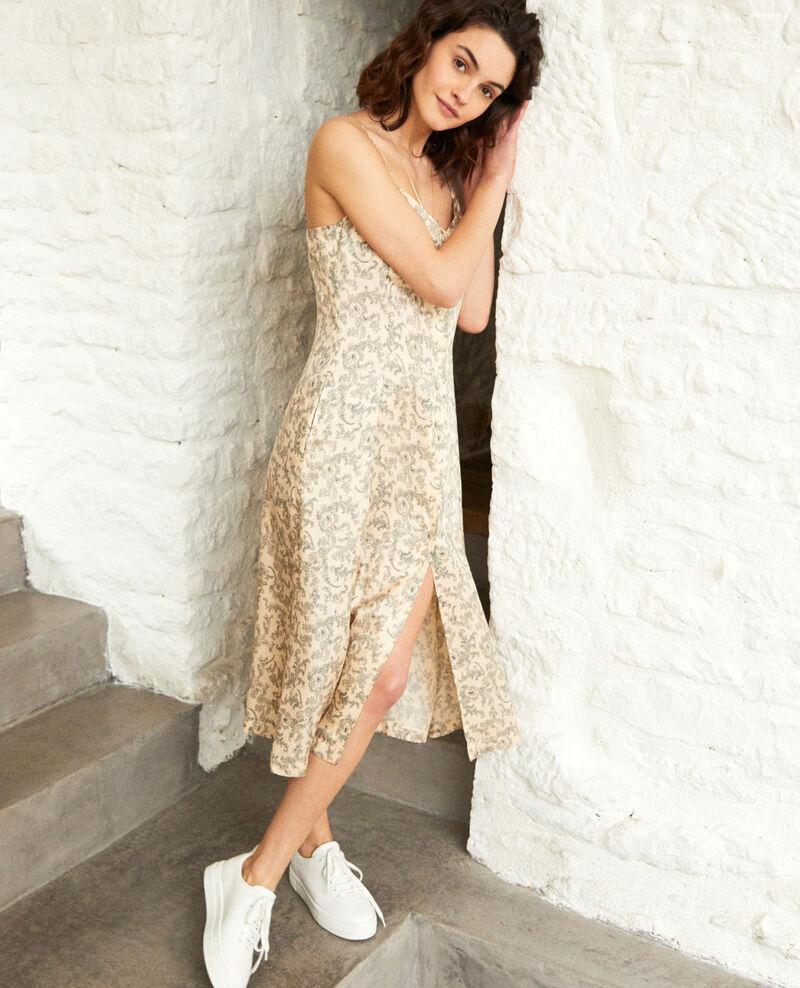 Vestido con seda Bandana light beige Ibriel