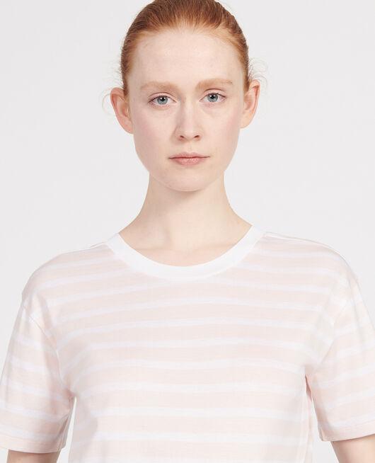 Camiseta de algodón STRIPES PRIMROSE PINK OPTICAL WHITE