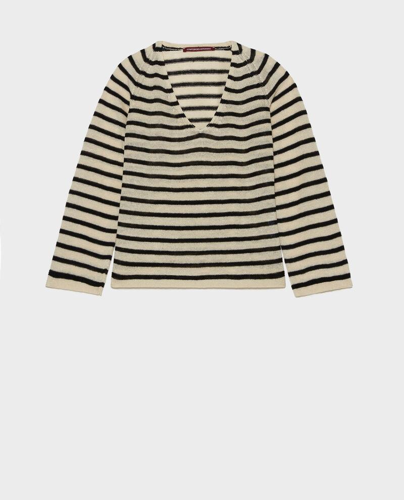 Camiseta de lino Stripes buttercream black Logron