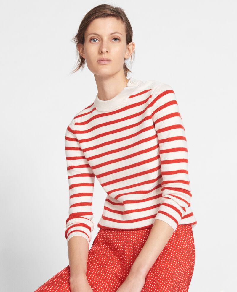 Jersey de lana Stripes fiery red gardenia Liselle
