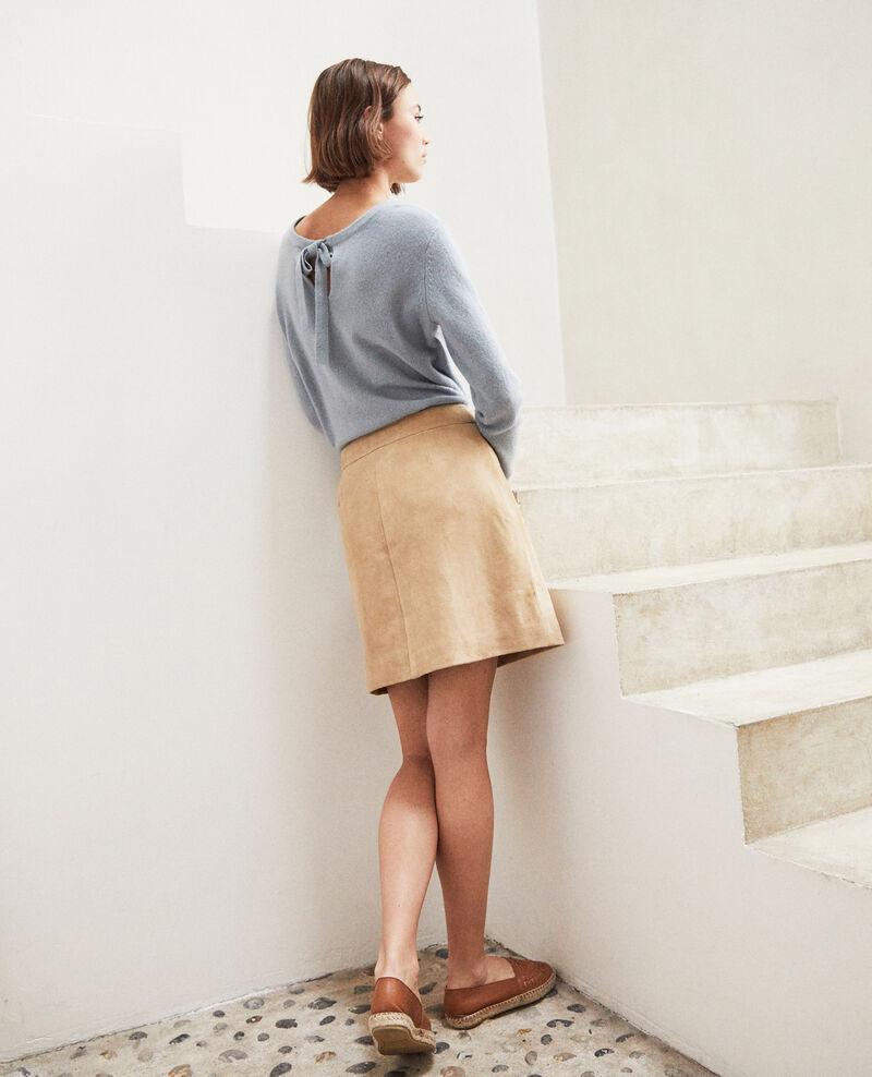 Falda corta de ante Beige Icate