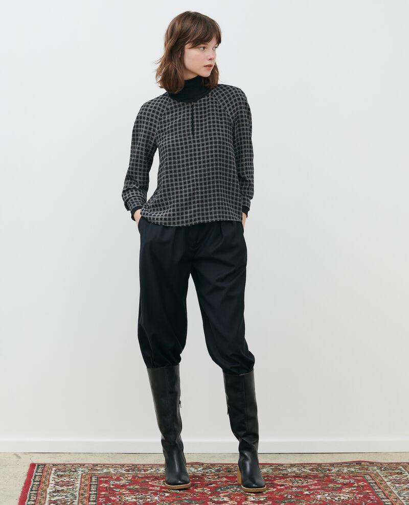 Prenda superior de seda estampada Check black Pabus