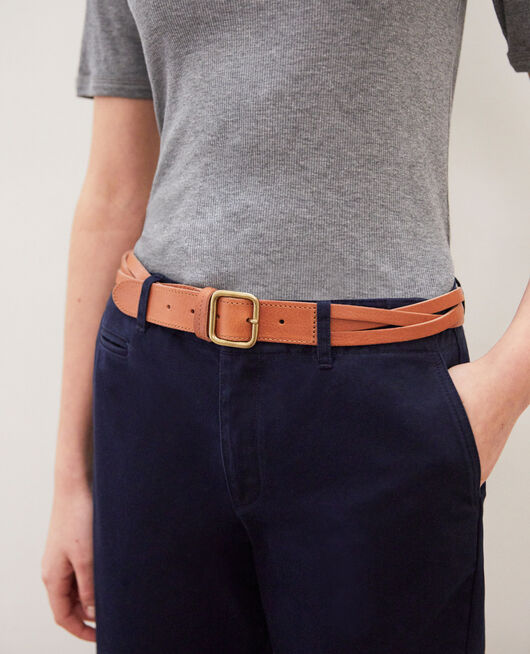 Cinturón trenzado de cuero Marron