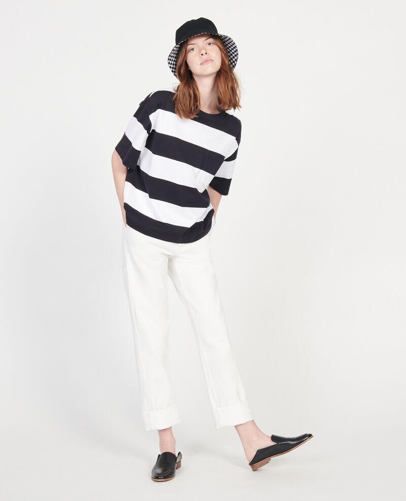 Camiseta rayada oversize de algodón mercerizado Str opticalwhite black Lord