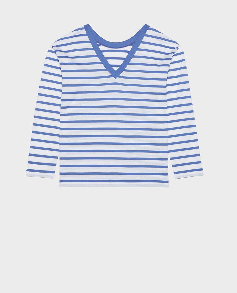 Camiseta de algodón egipcio Stripes optical white amparo blue Lana