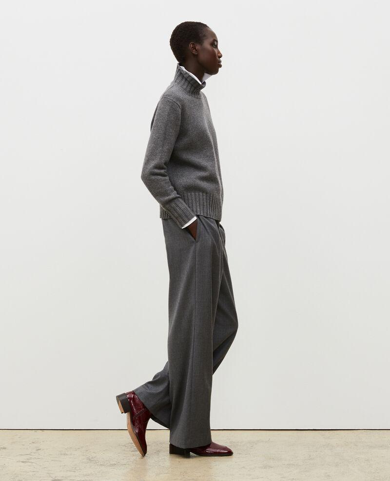 Pantalón YVONNE ancho de lana con talle alto Medium grey melange Mafare