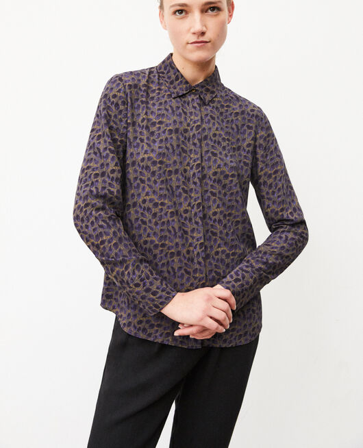 Camisa de corte recto DOT LEAVES OLIVE NIGHT