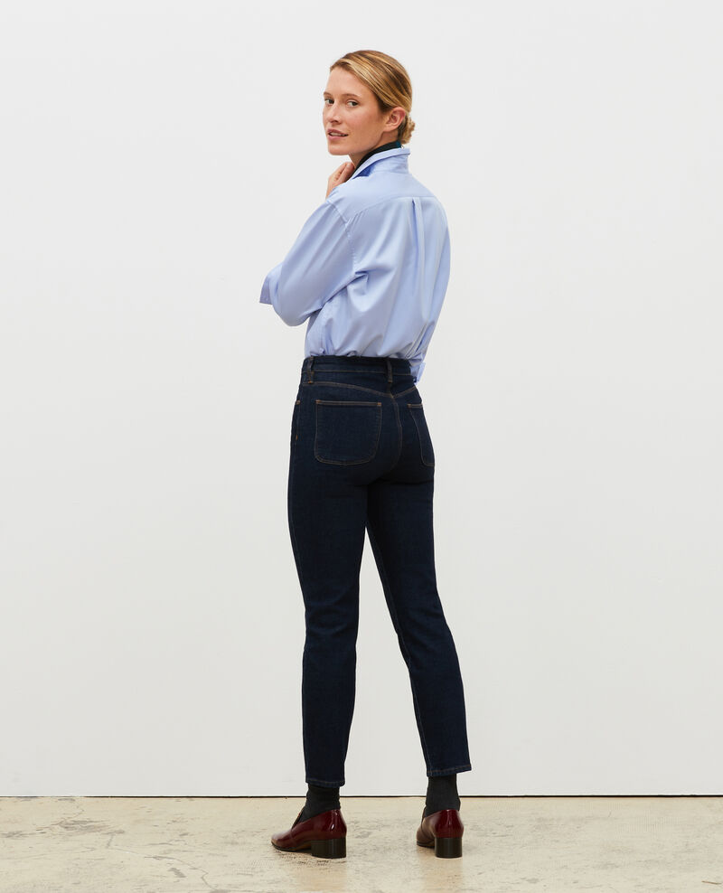SLIM HIGH RISE - Jeans cropped 5 bolsillos Denim rinse Mervilla