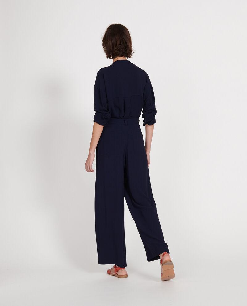 Pantalón de viscosa ancho y fluido con pinzas Maritime blue Logance
