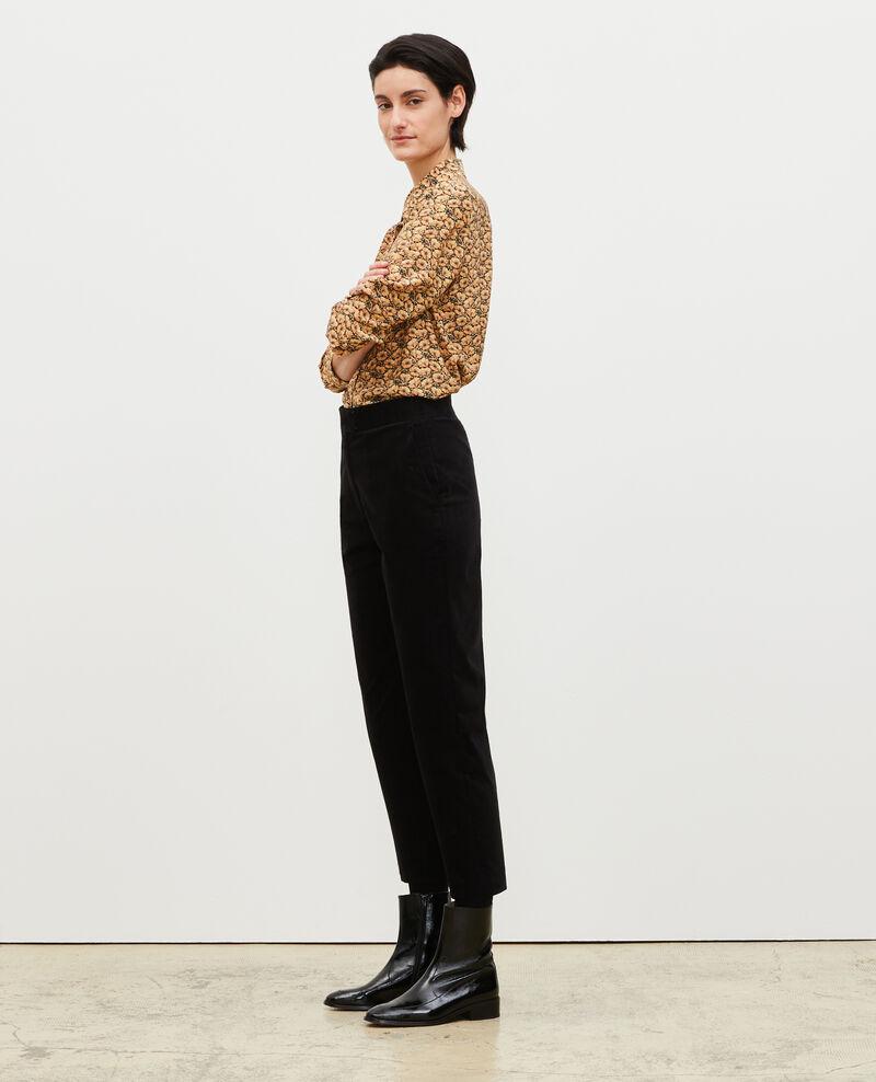 Pantalón campana de terciopelo con talle alto 7/8 Black beauty Marousseau