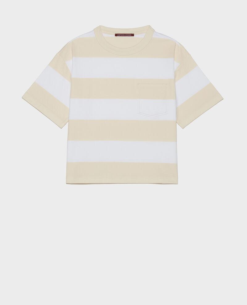 Camiseta rayada oversize de algodón mercerizado Str opticalwhite butter Lord