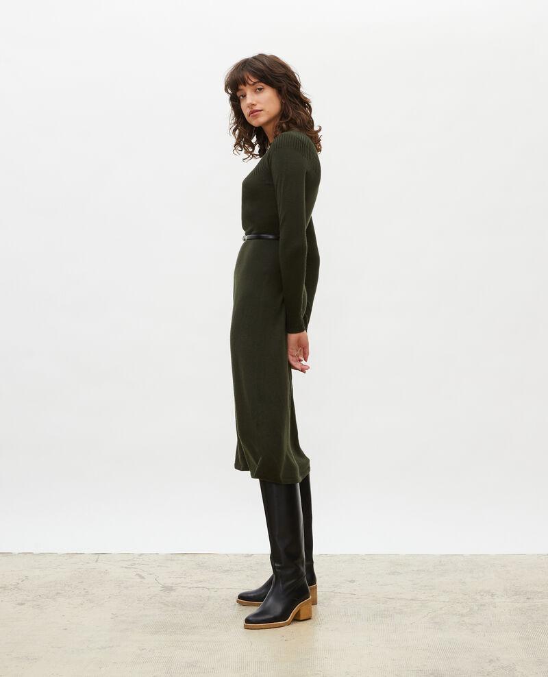 Vestido evasé de lana merino con cuello redondo Military green Malouy