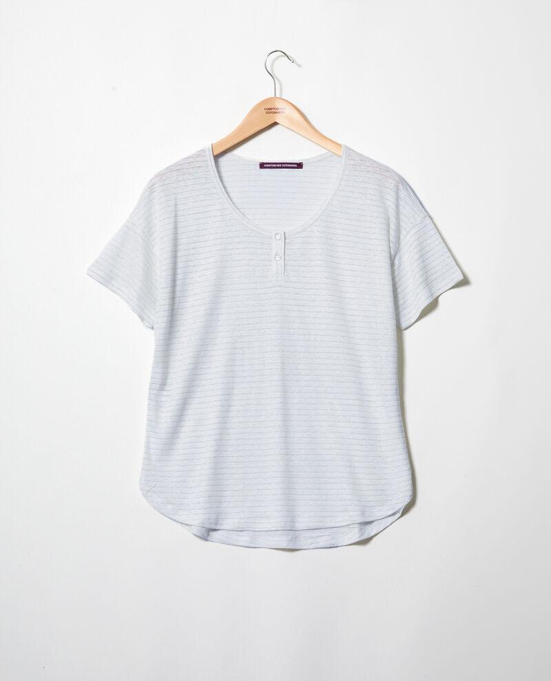 Camiseta brillante con lino Light blue Imape