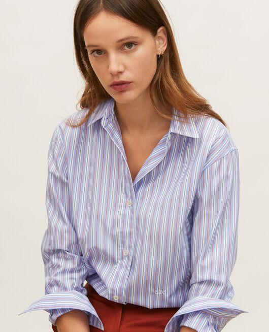 Camisa boyish de algodón POPELINE STRIPES