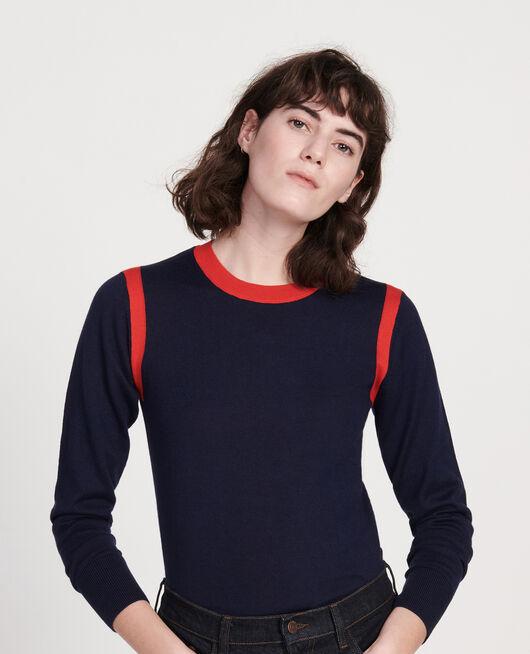 Jersey con seda cachemir STRIPES MARITIME BLUE FIERY RED