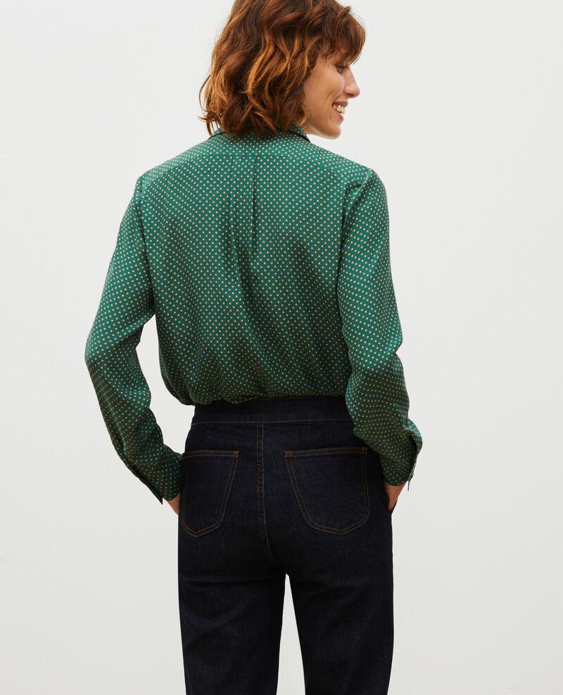 Camisa masculina de seda con manga larga Little pois dark green Morigesa
