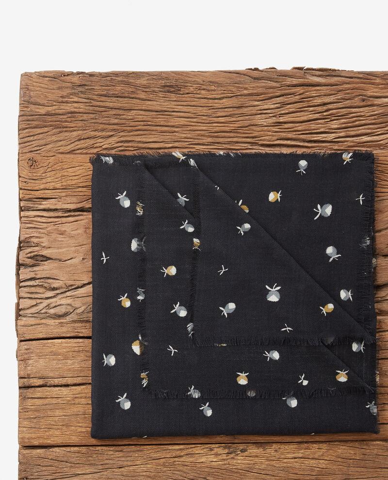 Pañuelo estampado 100 % de lana Pinecones dark navy Dalexia