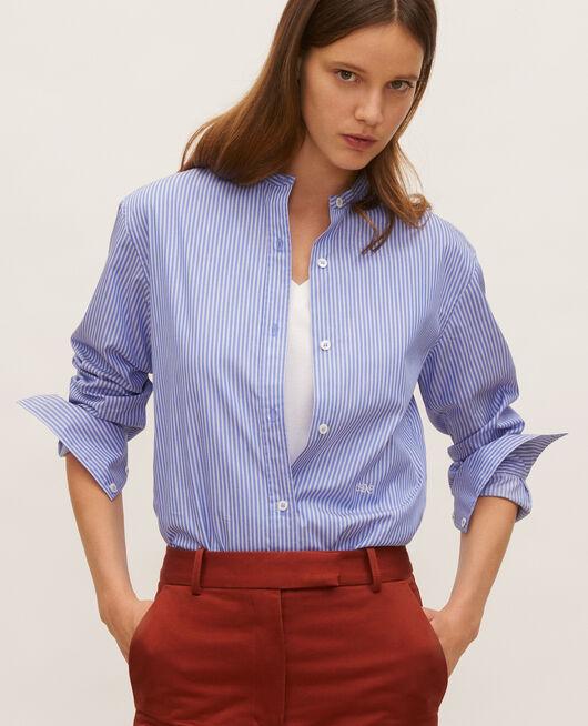 Camisa de algodón sin cuello POPELINE STRIPE2