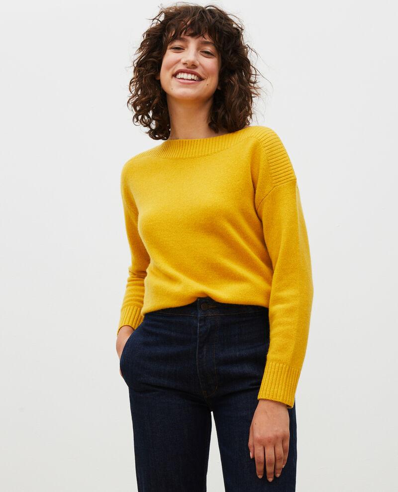 Jersey de cachemir con cuello de barco Lemon curry Matelot