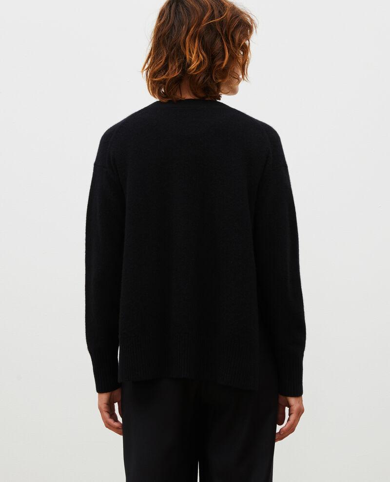 Cárdigan de cachemir con cuello de pico abierto en los lados Black beauty Moleano
