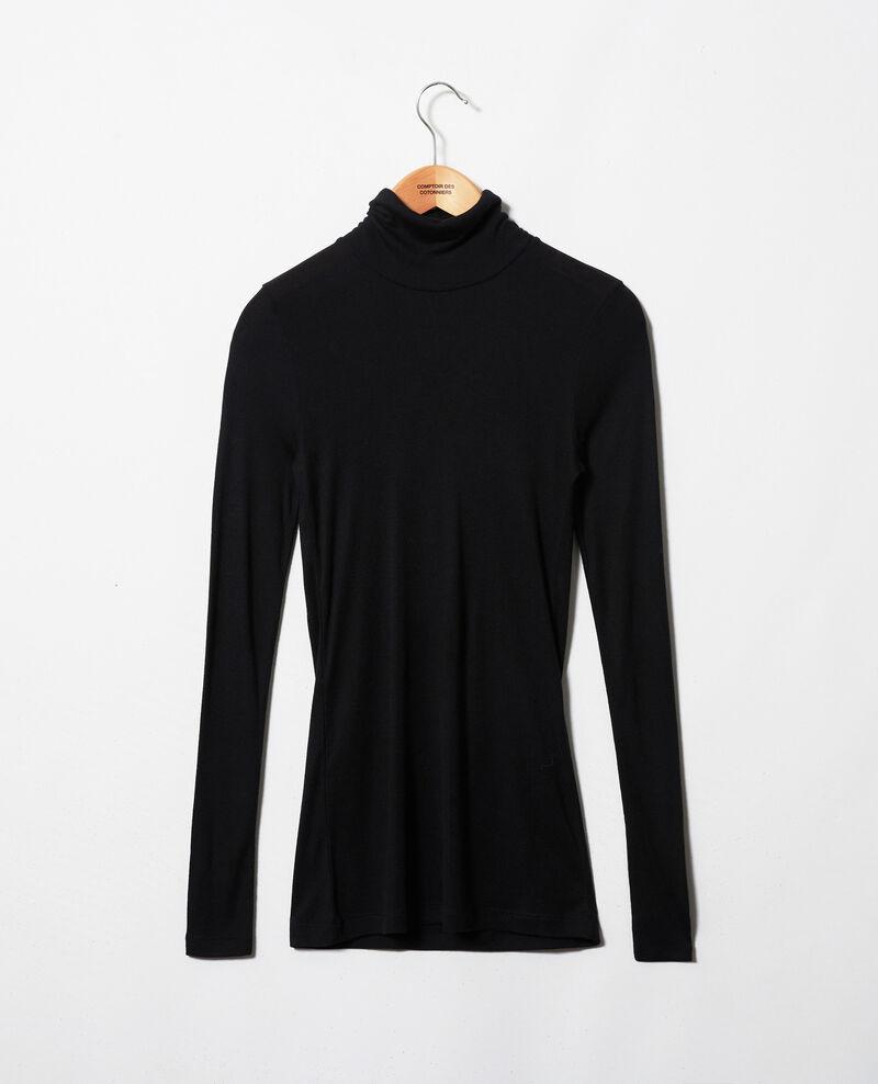 Camiseta cuello vuelto con cachemir Noir Jylka