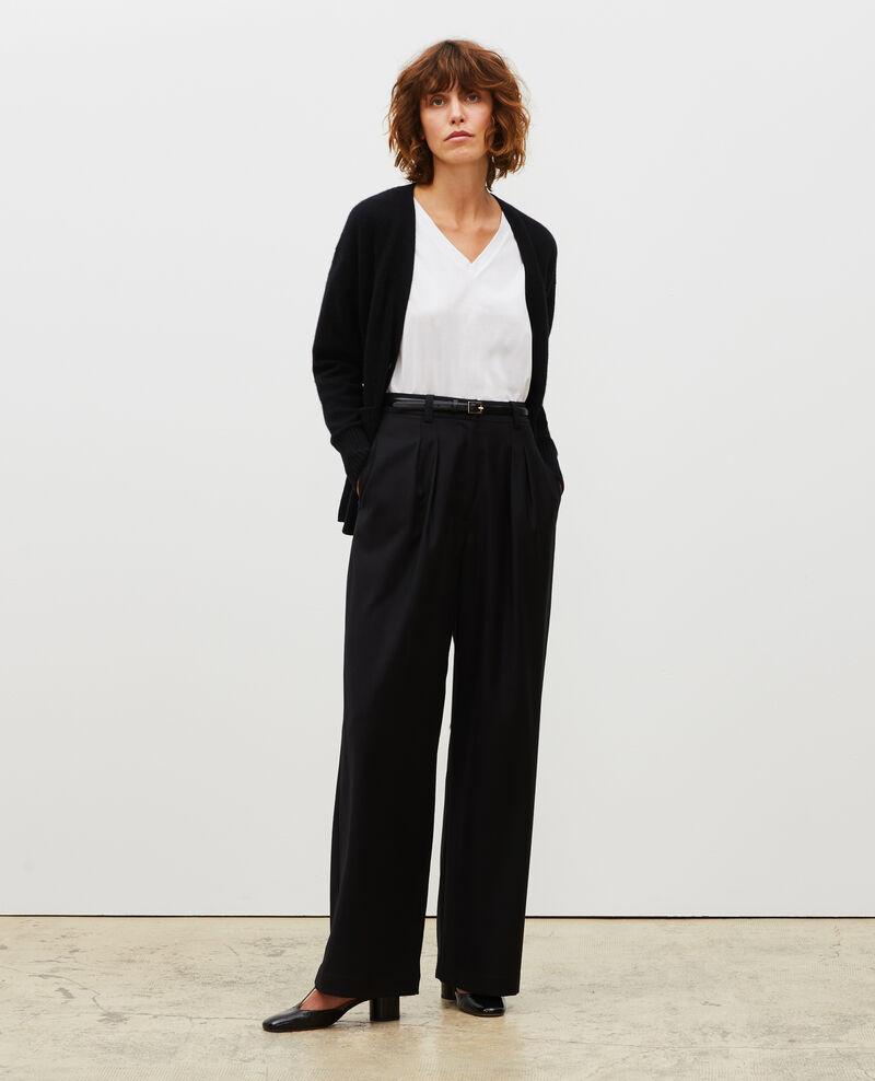 Pantalón YVONNE ancho de lana con talle alto Black beauty Mafare