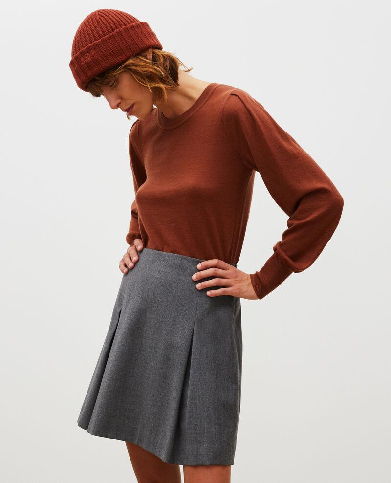 Falda trapecio corta de franela de lana Medium grey melange Marcoles