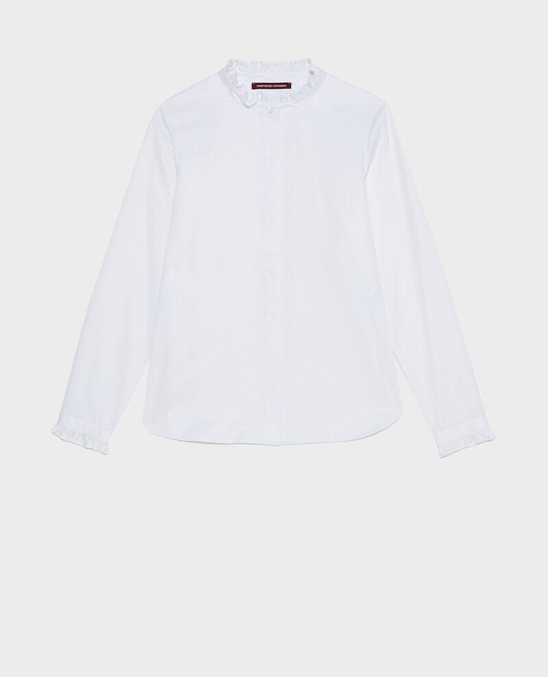 Camisa de algodón cuello subido con volante Brilliant white Marcenat
