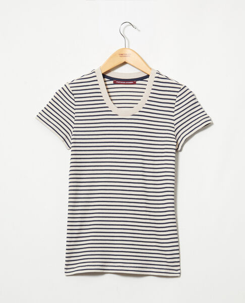 Comptoir des Cotonniers - Camiseta de rayas Beige/navy - 3