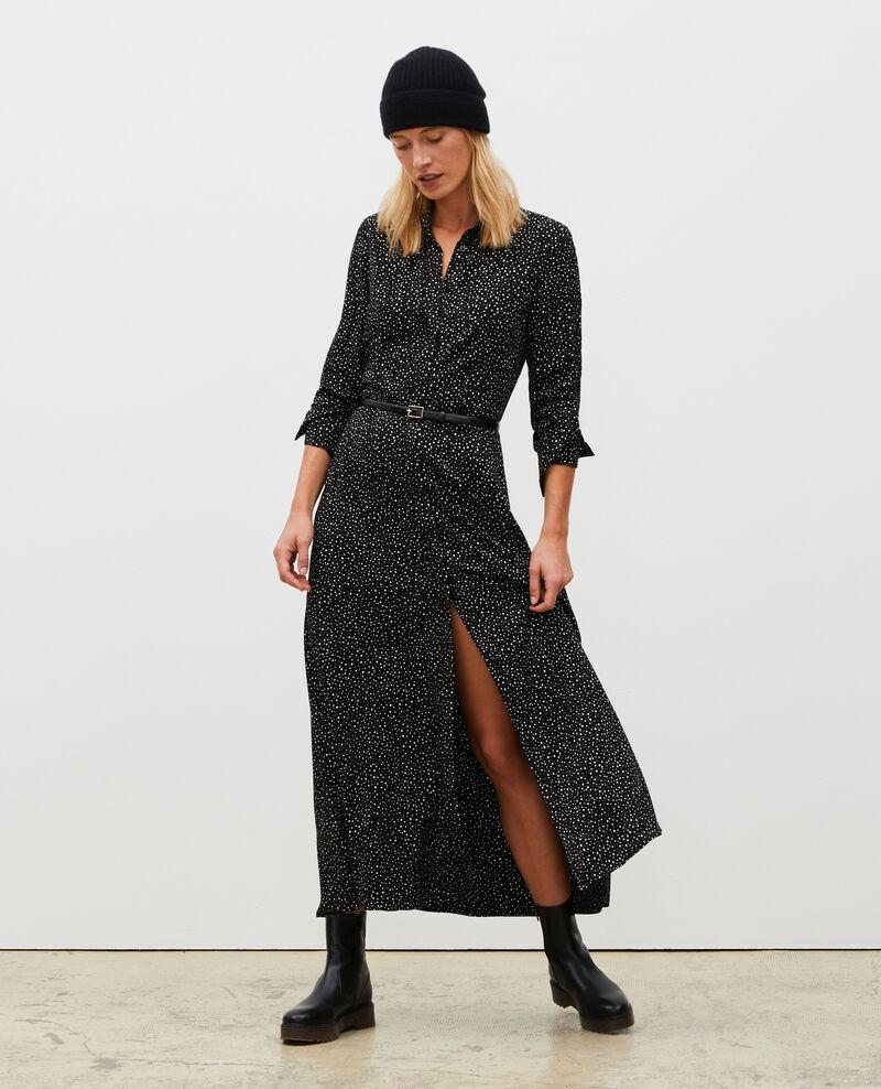 Maxi vestido largo estampado Print constellation black Meursac