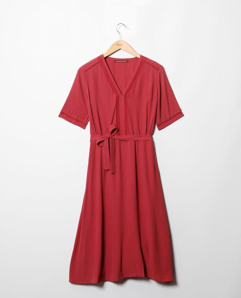 Vestido con inserciones de bordados Earth red Grigue