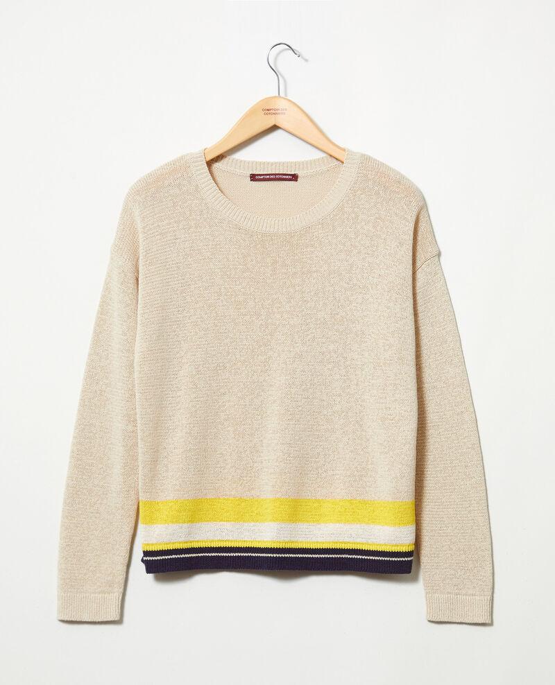Jersey de lino con cuello redondo Natural beige Iraye