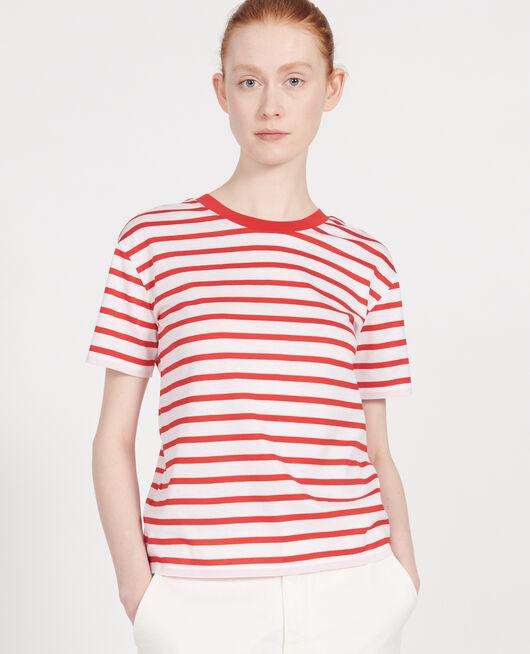 Camiseta de algodón egipcio STRIPES OPTICAL WHITE FIERY RED
