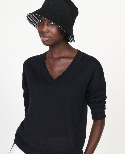 Jersey con cuello de pico de lino y algodón BLACK BEAUTY