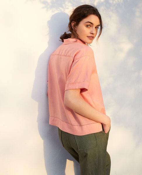 Comptoir des Cotonniers - Camisa con cuello abierto de lino Salmon pink - 3