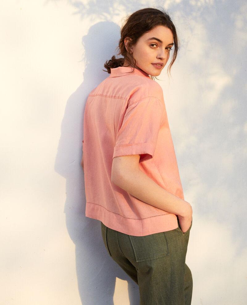 Camisa con cuello abierto de lino Salmon pink Ilage