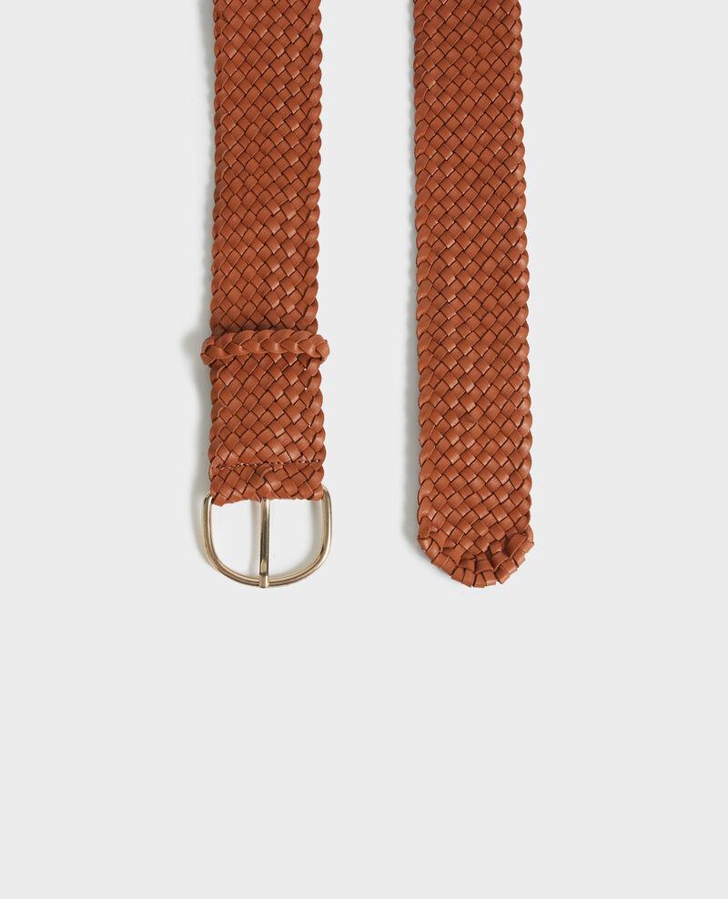 Cinturón ancho trenzado de cuero. Camel Perles