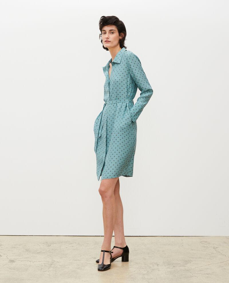 Vestido camisero de seda con cinturón Print mosaique treillis Maridansa
