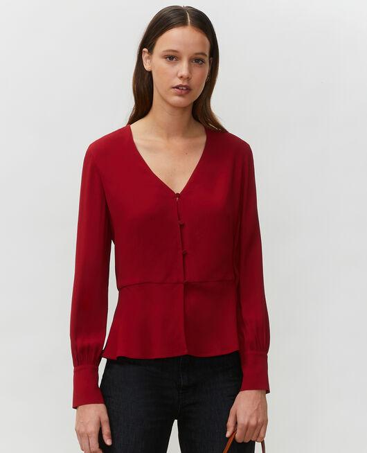 Blusa entallada con cuello de pico  ROYALE RED