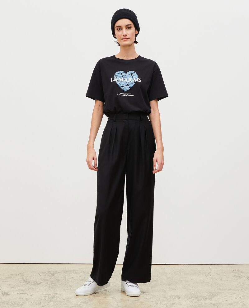 Camiseta de algodón manga corta Black beauty Mia