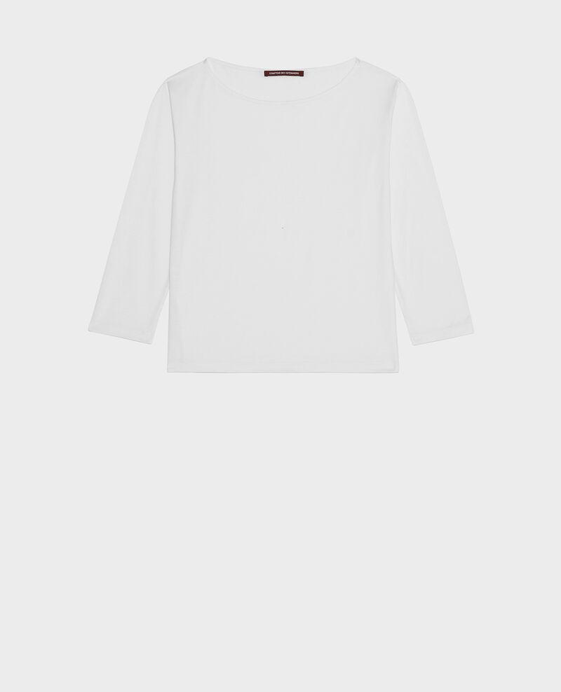 Camiseta de algodón con cuello barco y manga larga Optical white Lotel