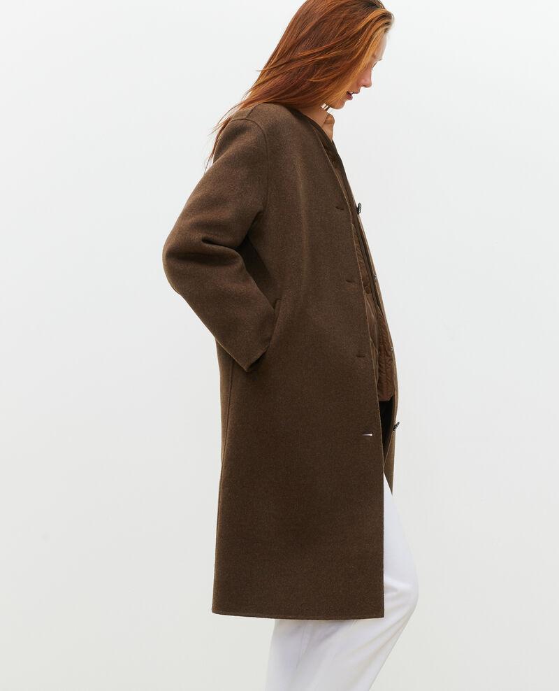 Abrigo de lana con doble cara Heather kaki Muuck