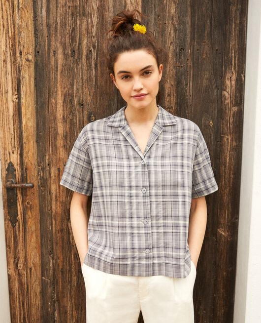 Camisa con cuello abierto de algodón OFF WHITE/NAVY
