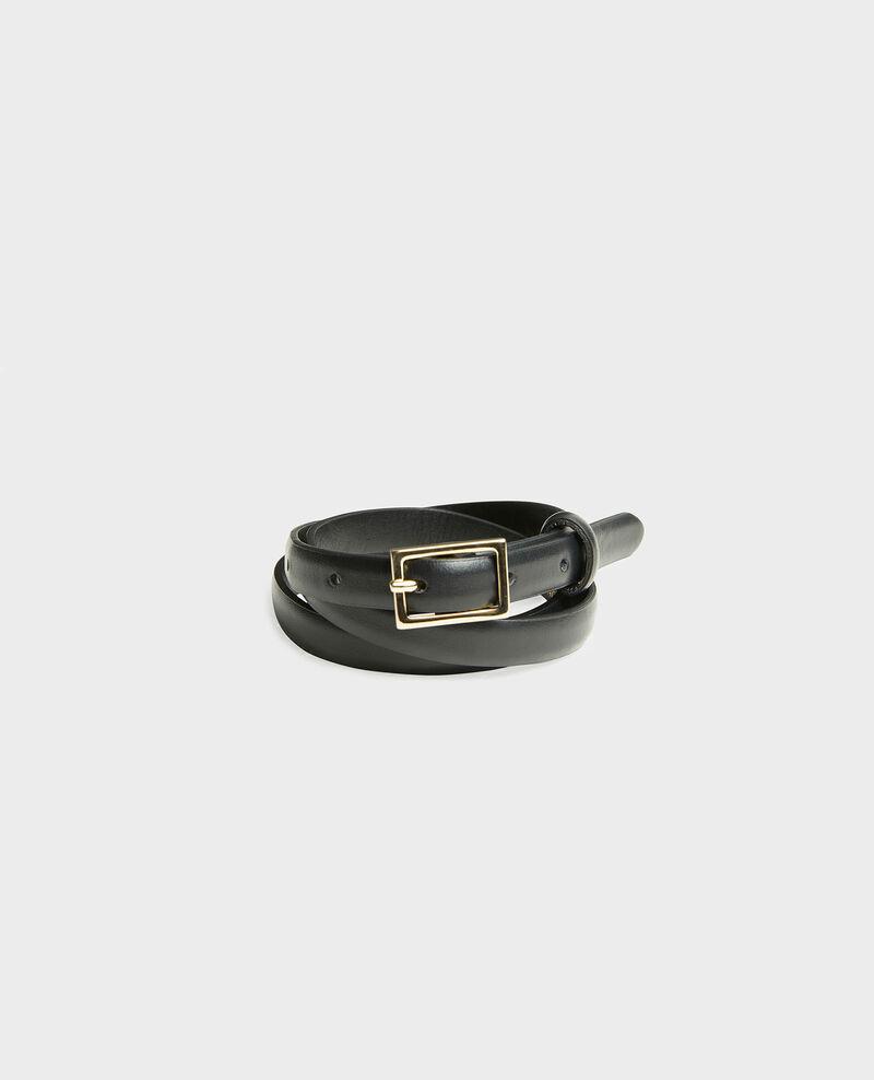Cinturón fino de cuero con hebilla rectangular Black beauty Meillard