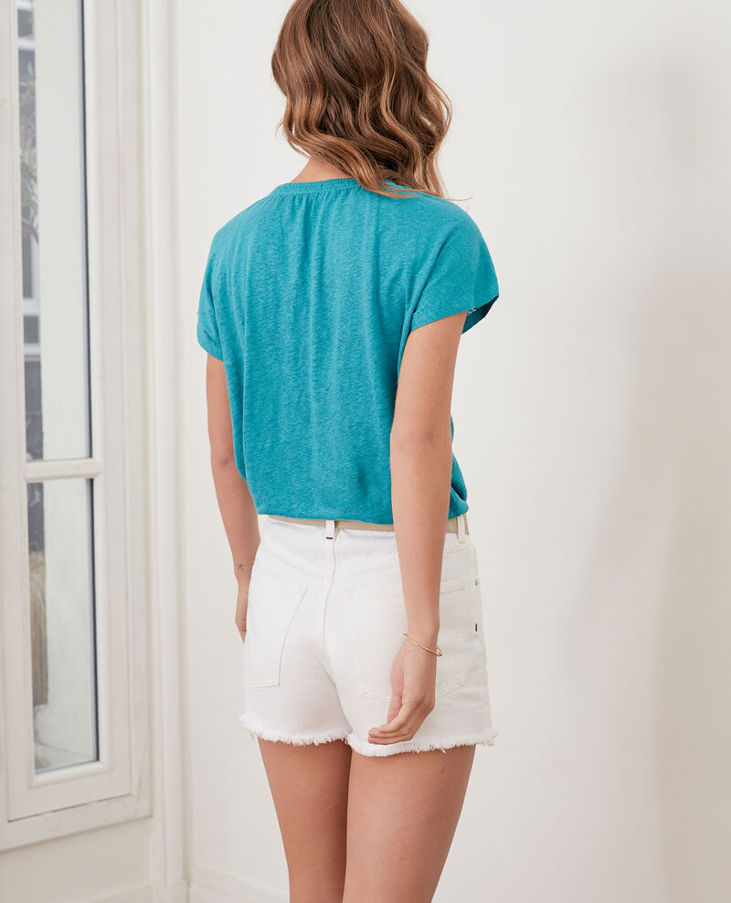 Camiseta de lino Pacific green Flabi